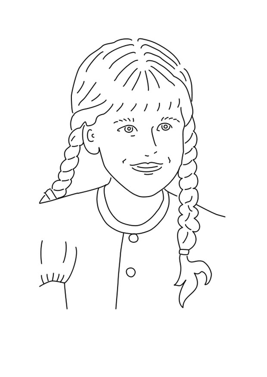 531x750 Coloring Page Girl With Braided Hair