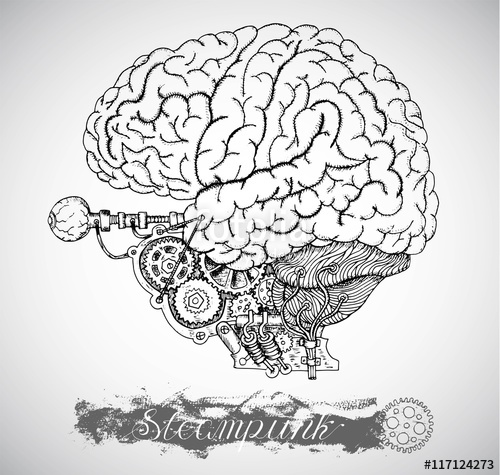 500x475 Human Anatomy Brain With Vintage Mechanism In Steampunk Style