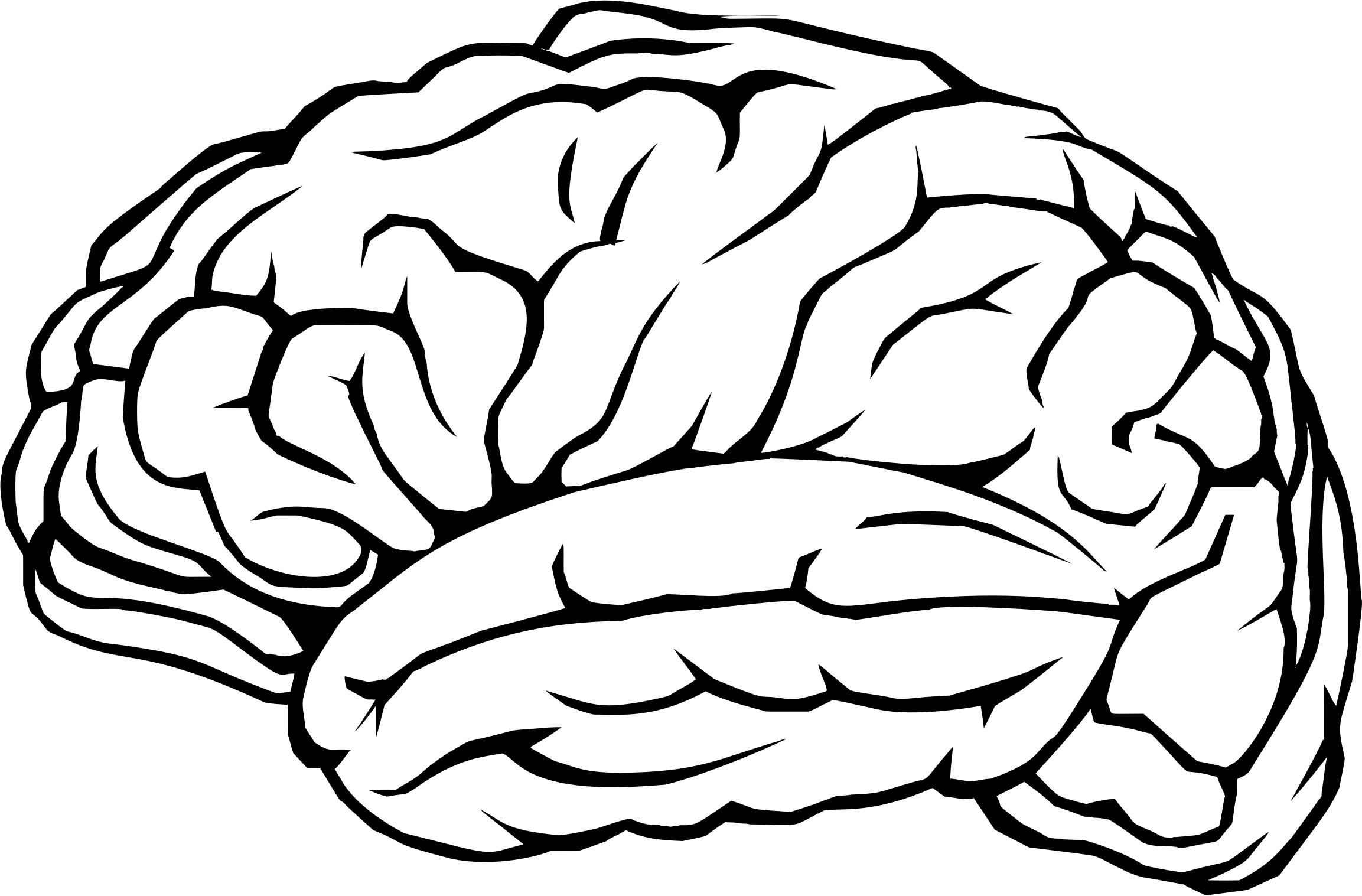 2306x1517 Brain Profile Line Art Icons Png