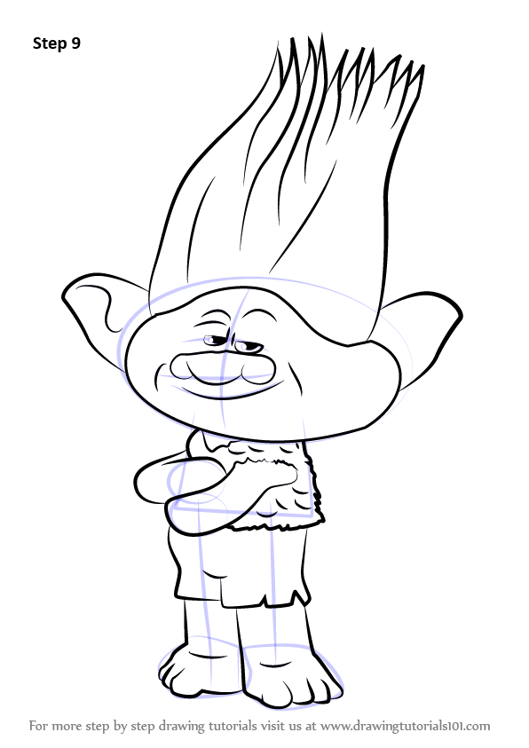 596x843 Learn How To Draw Branch From Trolls (Trolls) Step By Step