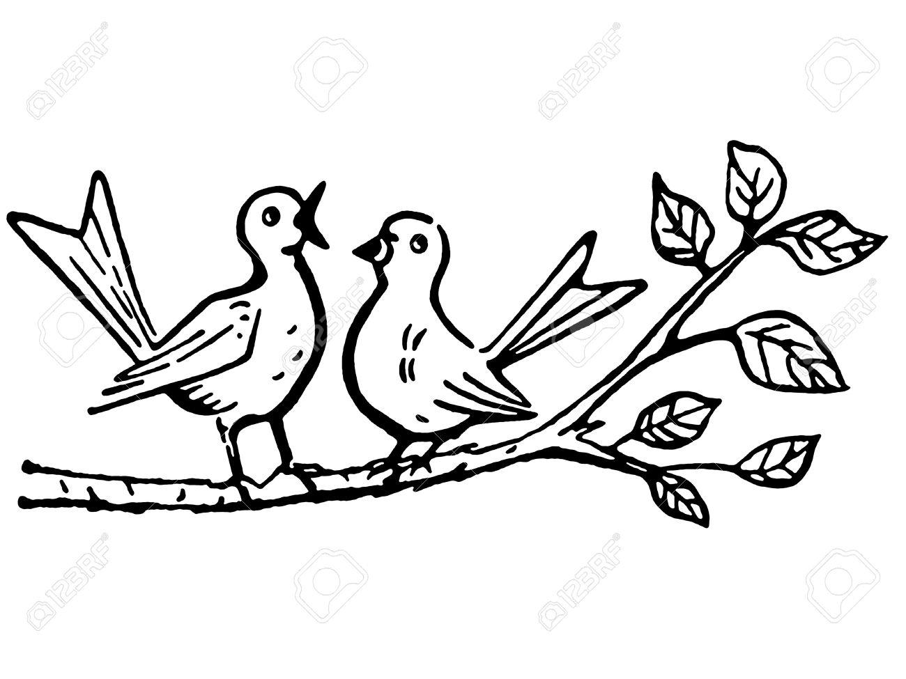 1300x975 Bird On A Tree Drawing