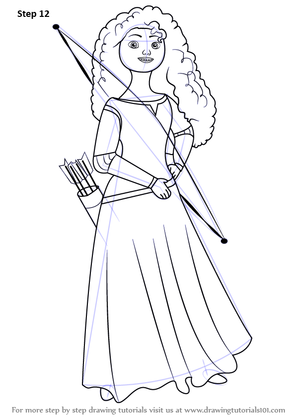 596x843 Learn How To Draw Merida Elinor From Brave (Brave) Step By Step