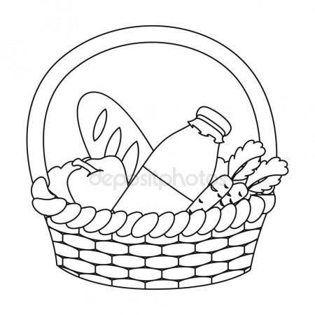 450x450 Colorful Wicker Basket Of Bread Goods Stock Vector Vectortatu