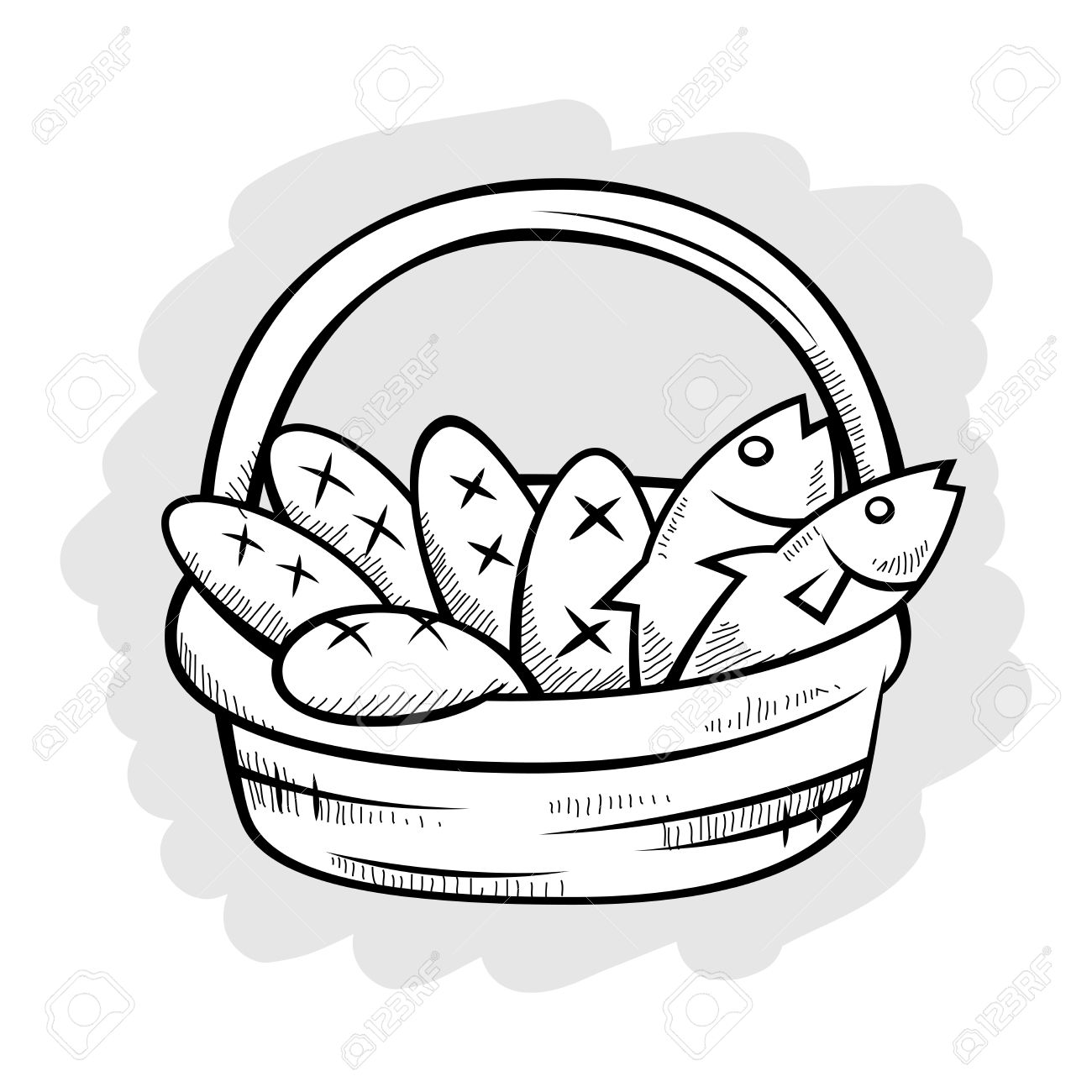 1300x1300 Five Bread And Two Fish In A Basket, Vector Illustration Royalty