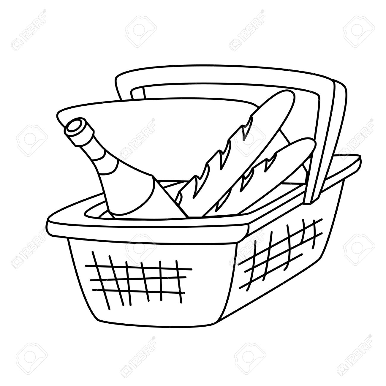 1300x1300 Picnic Basket With A Bottle Of Wine And A Loaf Of Bread Royalty