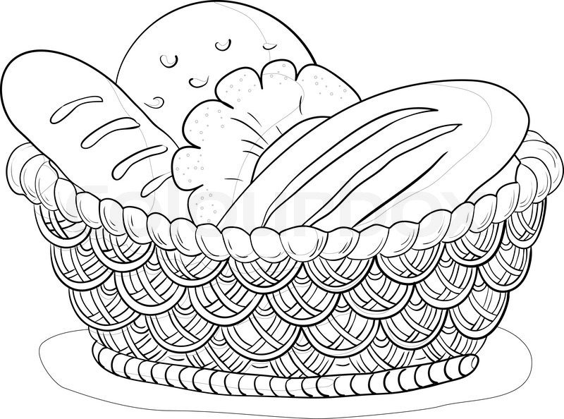 800x594 Vector, Food Bread, Loafs And Rolls In A Wattled Basket, Contour