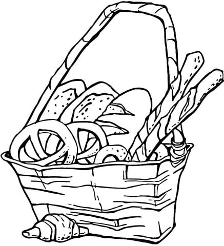 437x480 Basket Of Pretzels And Bread Coloring Page Free Printable