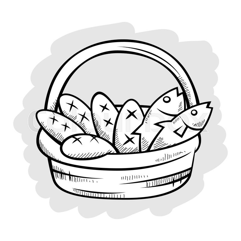 800x800 Five Bread And Two Fish In A Basket, Vector Illustration Stock