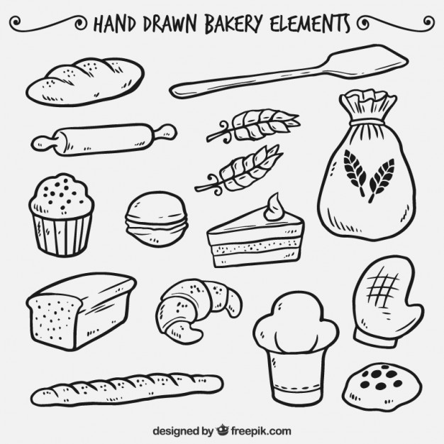 626x626 Hand Drawn Bakery Elements Vector Free Download