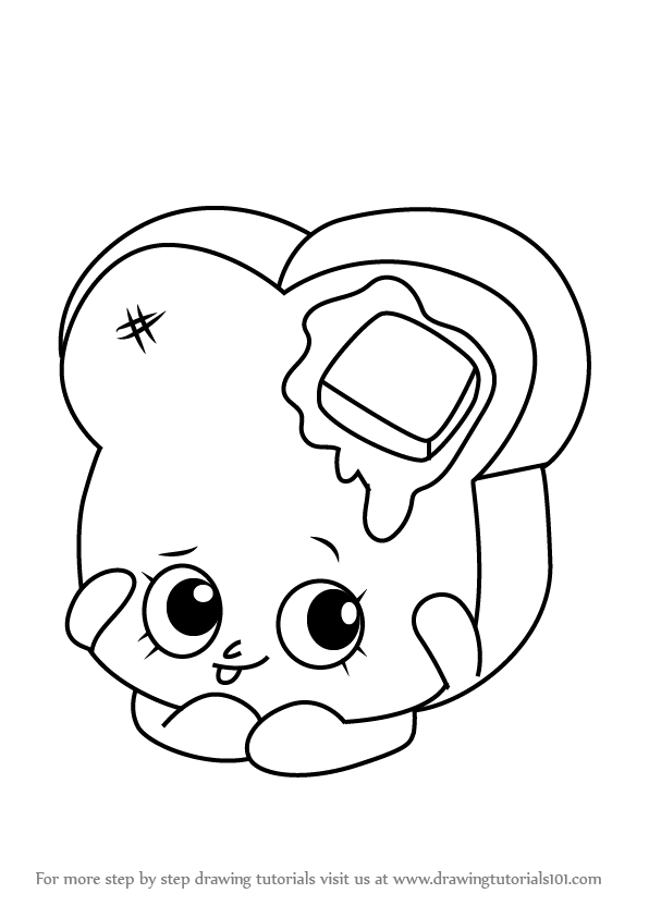 596x843 Learn How To Draw Toastie Bread From Shopkins (Shopkins) Step By