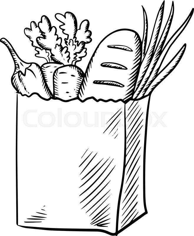 658x800 Paper Shopping Bag With Fresh Carrot, Green Onion, Zucchini