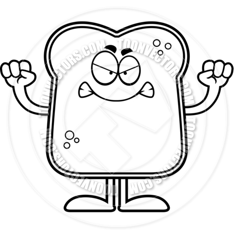 460x460 Angry Cartoon Bread (Black And White Line Art) By Cory Thoman