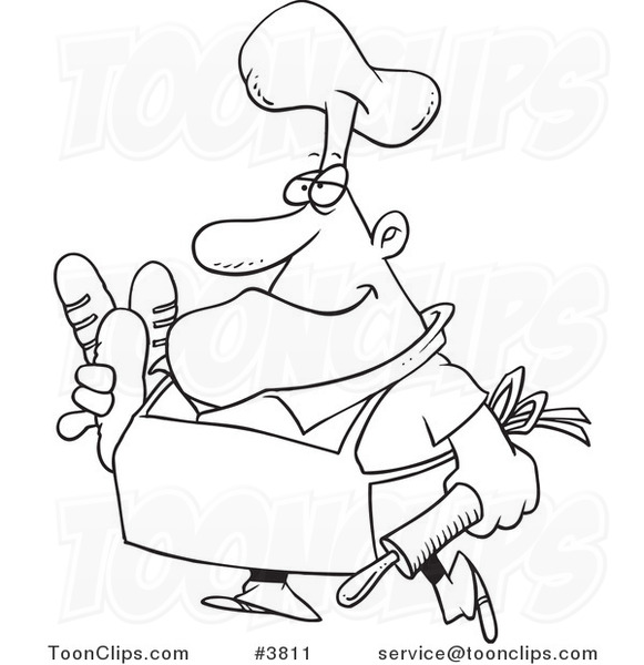 581x600 Cartoon Black And White Line Drawing Of A Baker Carrying Bread