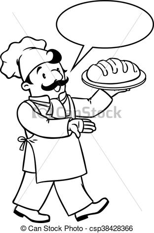 312x470 Coloring Book Of Funny Cook Or Baker With Bread. Coloring Clip