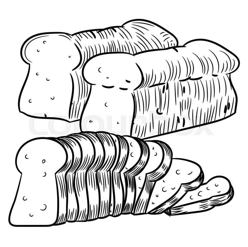 800x799 Hand Drawn Sketch Of Sliced Bread, Black And White Simple Line