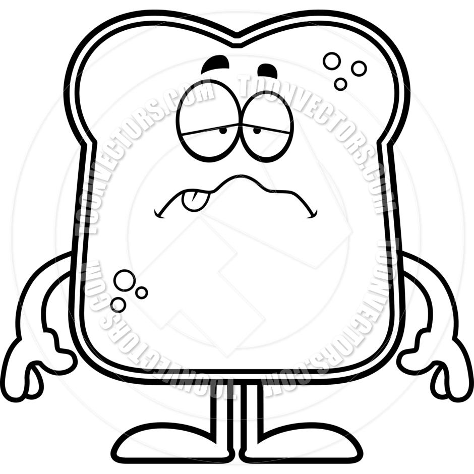 940x940 Sick Cartoon Bread (Black And White Line Art) By Cory Thoman