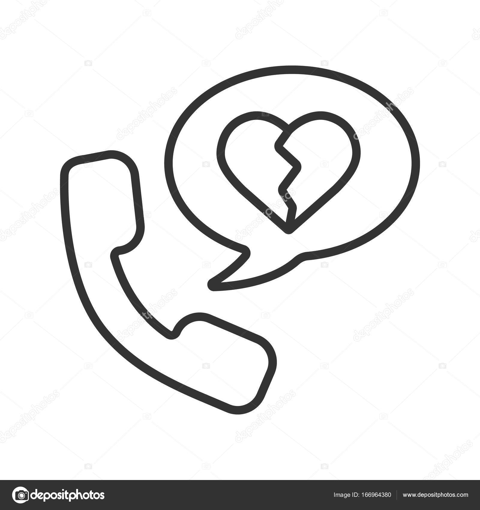 1600x1700 Breakup By Phone Linear Icon Stock Vector Bsd