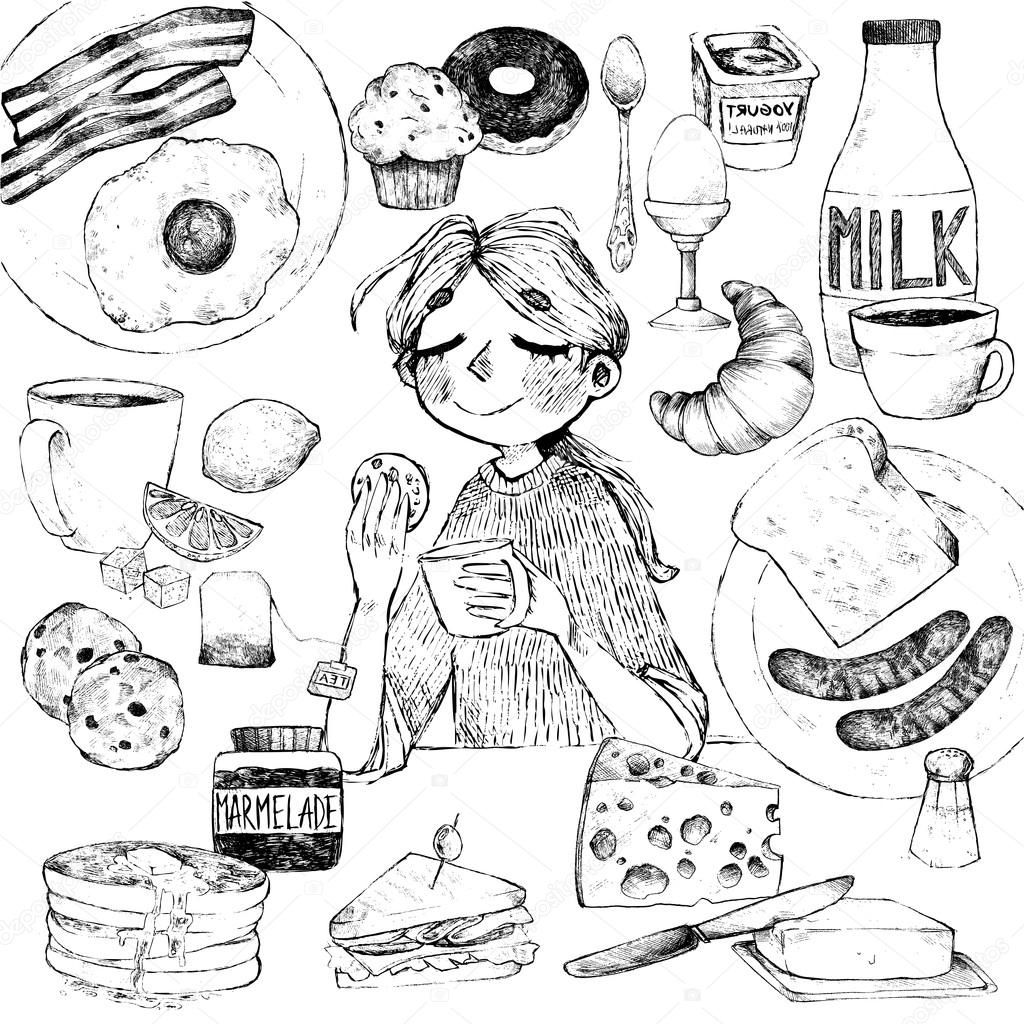 1024x1024 Breakfast. Hand Drawing Of Food And Beverages. The Girl Has Brea