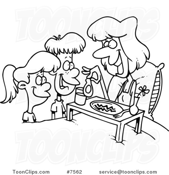 581x600 Cartoon Black And White Line Drawing Of Children Serving Their Mom