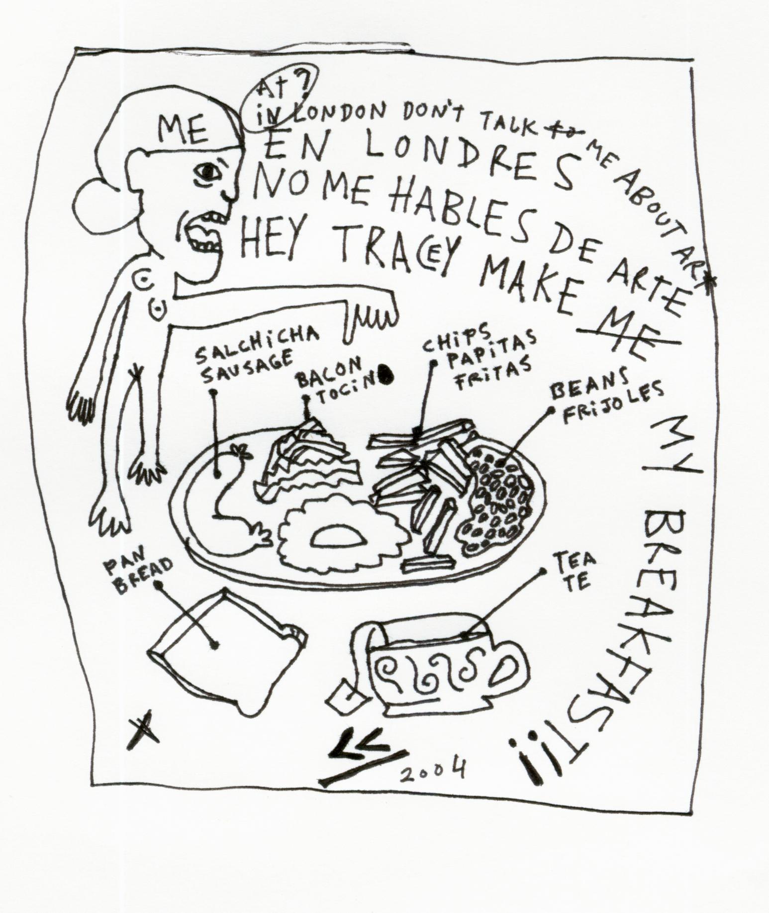 1546x1835 English Breakfast. Drawing Blanca Haddad In English
