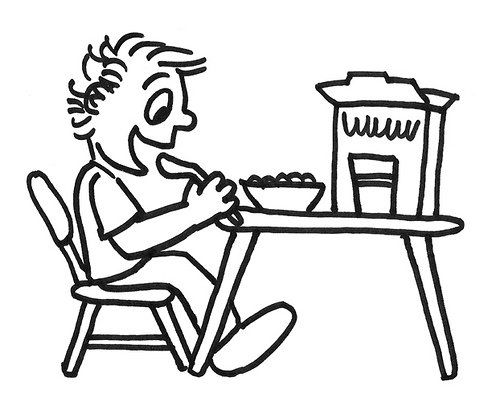 500x418 Kid Eating Breakfast Cartoon Of A Boy Enjoying Cereal