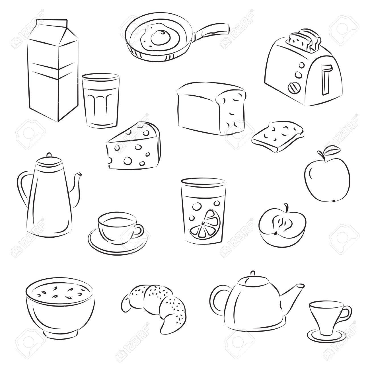 1300x1300 Sketch Clipart Set Breakfast Food Royalty Free Cliparts, Vectors