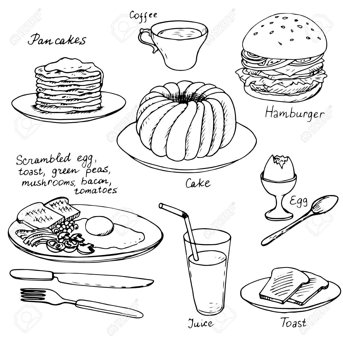 1300x1300 Breakfast Set, Ink Drawing, Hand Drawn Vector Illustration Royalty