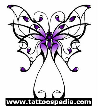 320x345 Blue Butterfly Flowers Breast Cancer Tattoo Design