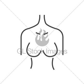 325x325 Line Icon Breast Cancer Check, Woman Body Infographic Gl Stock