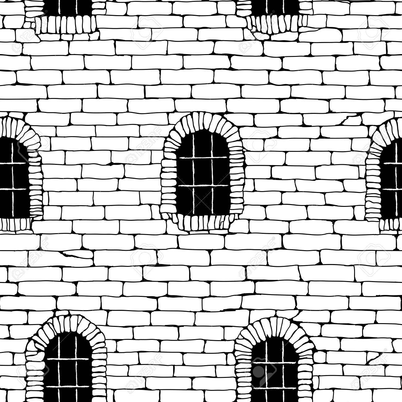 1300x1300 Seamless Background Of Black And White Brick Wall Ancient Building