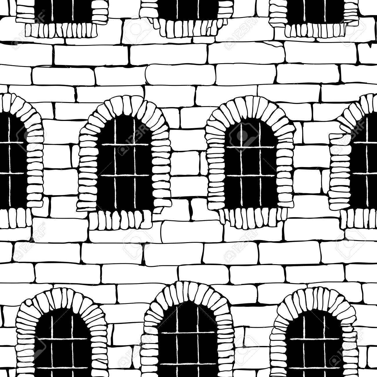 1300x1300 Seamless Vector Background Of Black And White Brick Wall Ancient