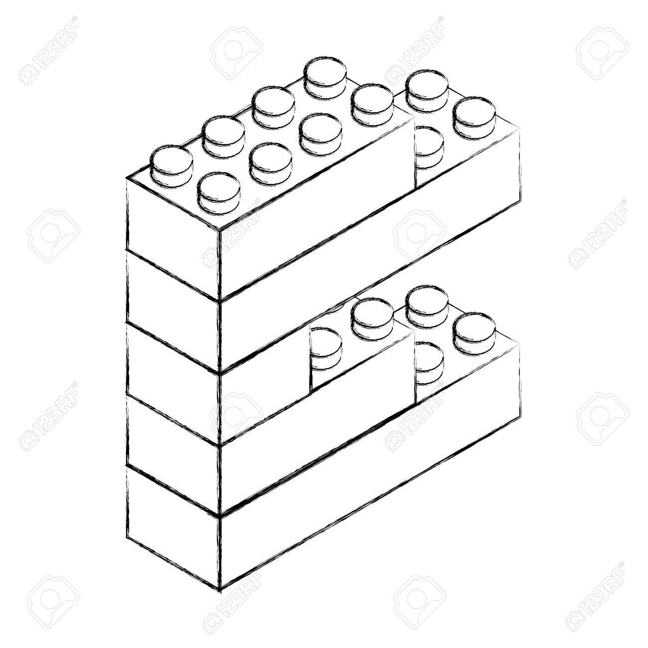 1300x1300 Sketch Draw Toy Building Block Bricks Vector Graphic Design