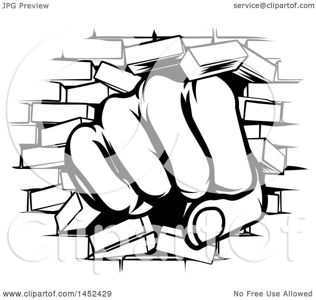 1080x1024 Clipart Of A Black And White Fist Punching Through A Brick Wall