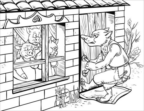 480x371 The Wolf Cannot Enter The Brick House Of Penny Pig Coloring Page