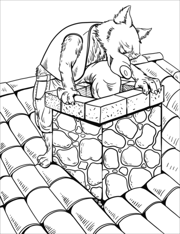 371x480 The Wolf Slides Down The Chimney Of The Brick House Coloring Page