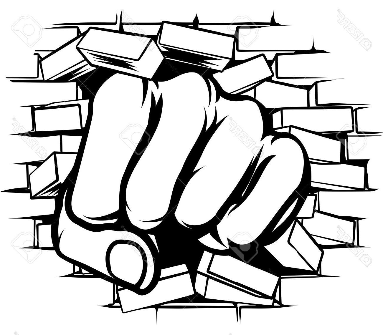 1300x1138 Unique Pop Art Cartoon Fist Hand Punching Through Brick Wall Stock