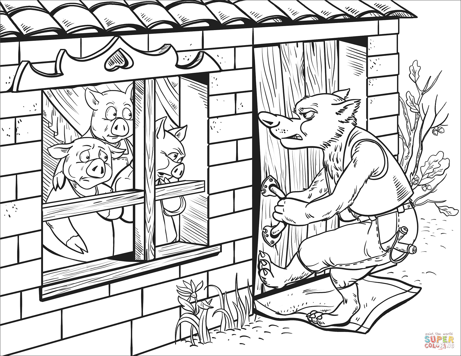 1500x1159 Brick House Coloring Page