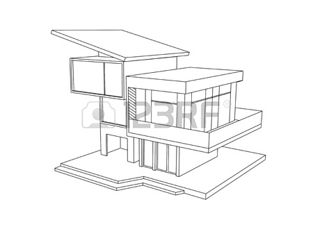 450x330 Drawing Of Cottage On A White Background Stock Photo, Picture