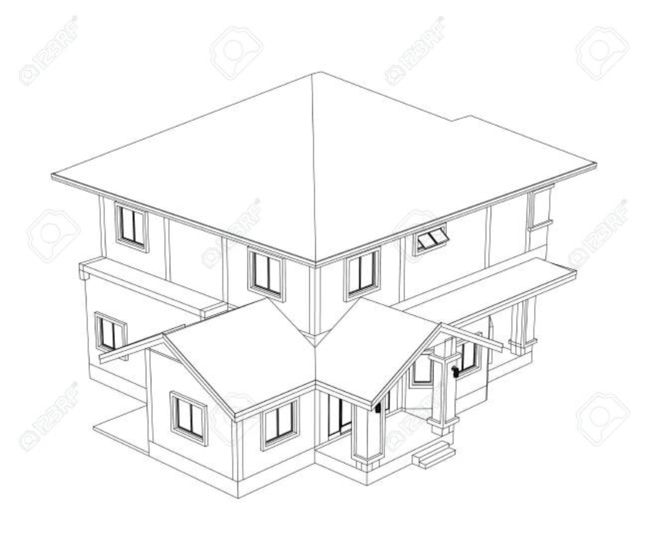 1300x1083 Drawings, Design House No Colour Stock Photo, Picture And Royalty