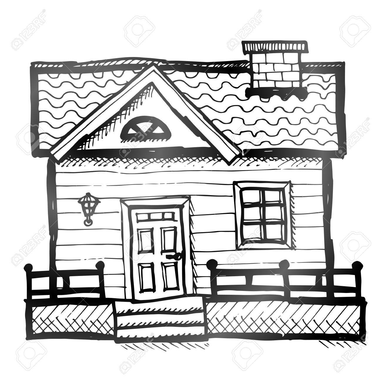 1300x1300 Hand Drawn House Sketch Of Home In Doodle Style Royalty Free