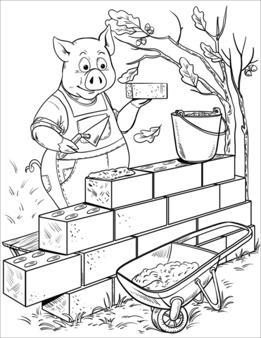 371x480 Penny Pig Builds A Brick House Coloring Page Free Printable
