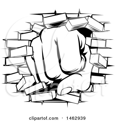450x470 Clipart Of A Black And White Fist Punching Through A Brick Wall