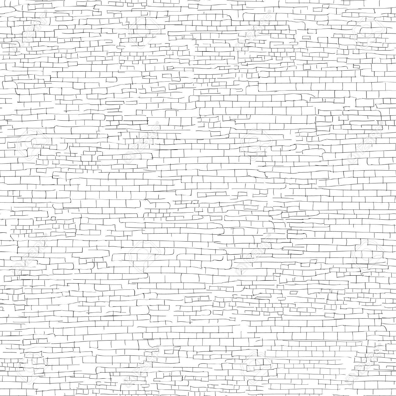 1300x1300 Ancient Brick Wall Background. Shabby Brick Wall Sketch Pattern