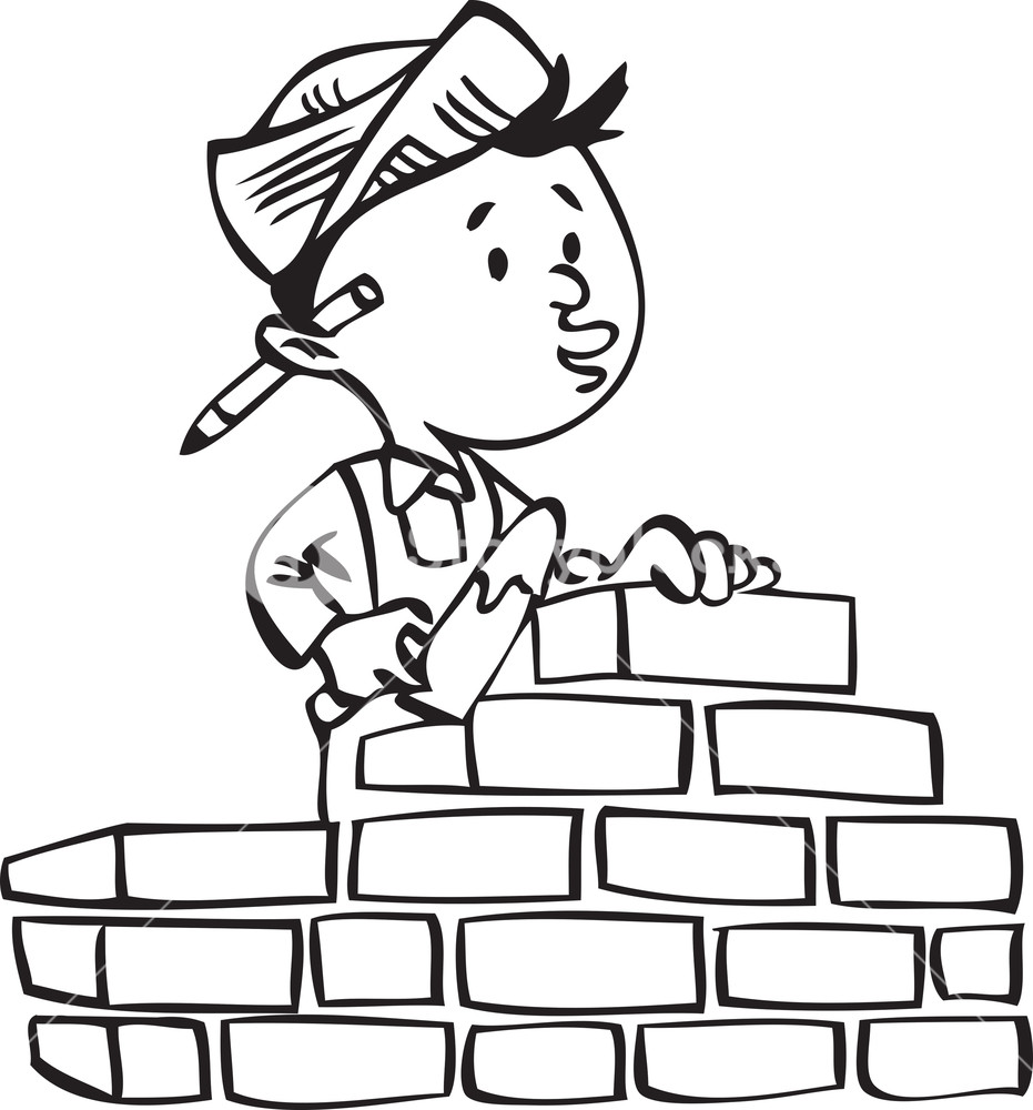 931x1000 Illustration Of A Builder Building A Brick Wall. Royalty Free