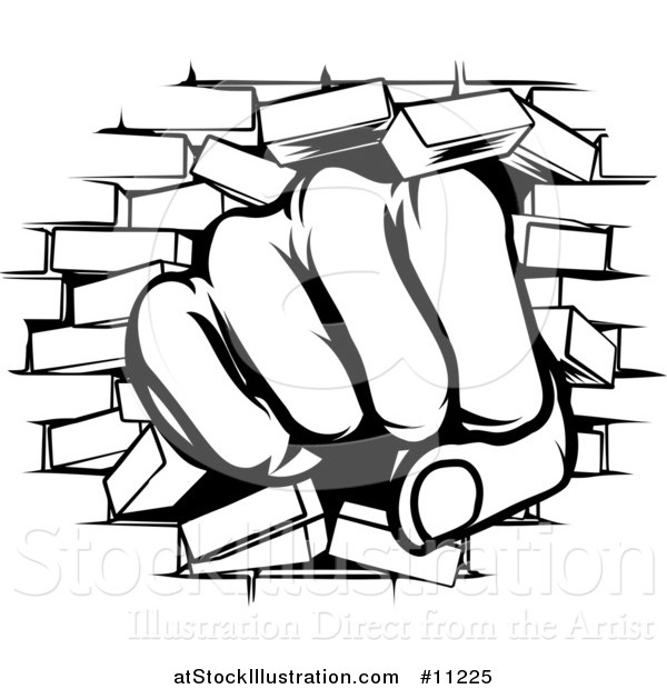 600x620 Vector Illustration Of Blacknd White Fist Punching Through