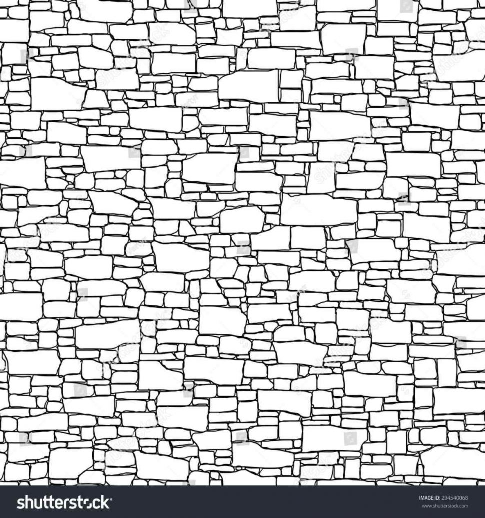 970x1035 Brick Brick Wall Black And White Drawing Bricks