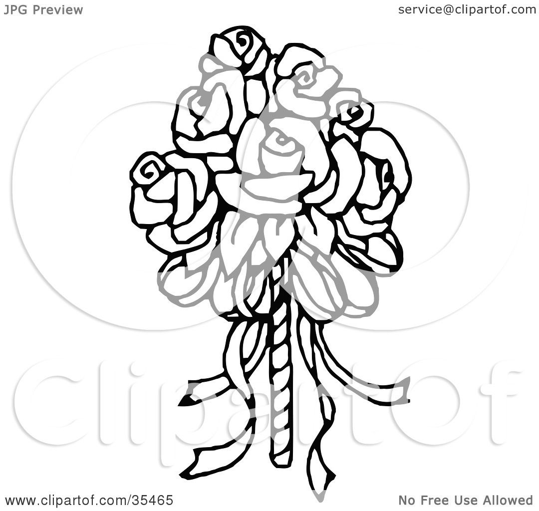 1080x1024 Clipart Illustration Of A Bridal Bouquet Of Roses By C Charley