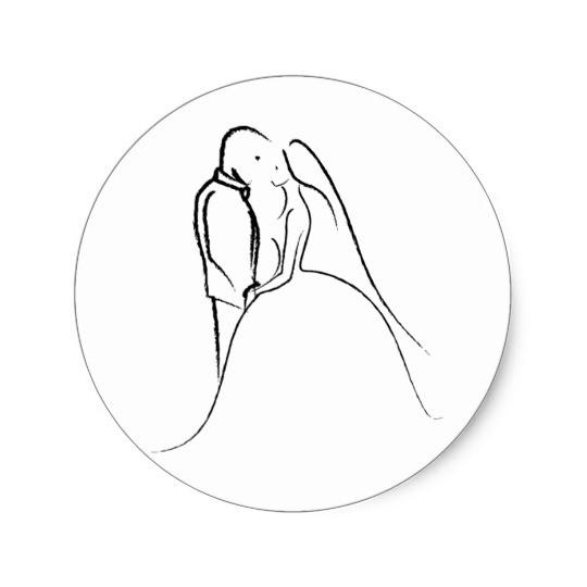 540x540 Bride Amp Groom Sketch Classic Round Sticker