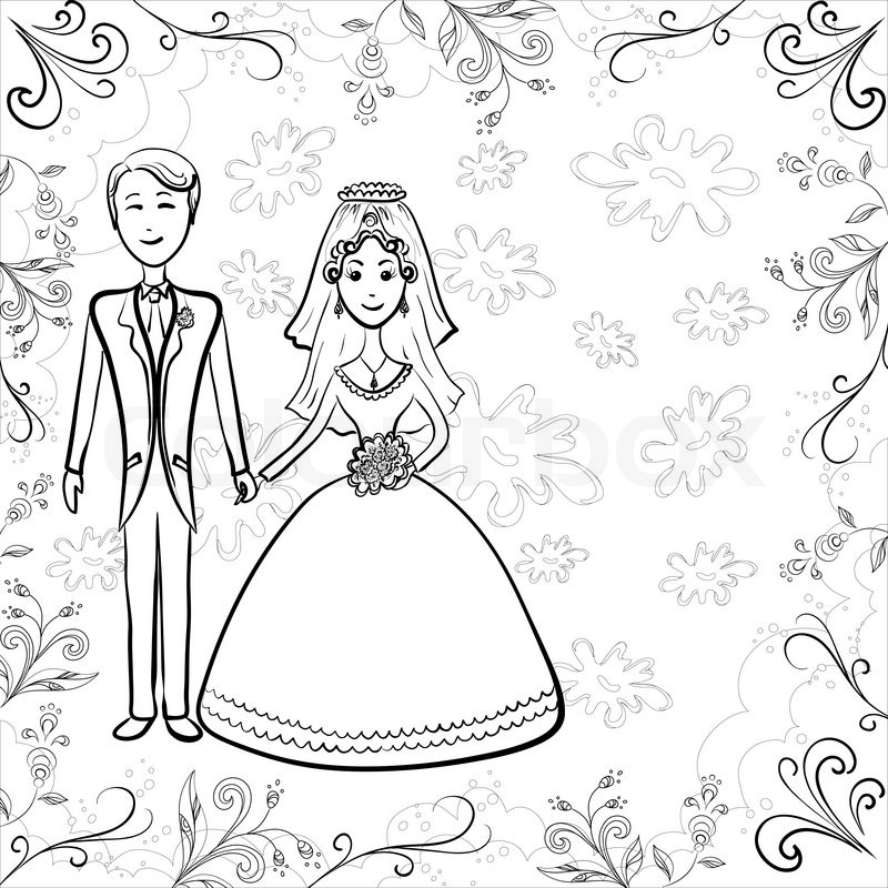 800x800 Cartoon, Black Contours Wedding, The Bride And Groom On A Floral