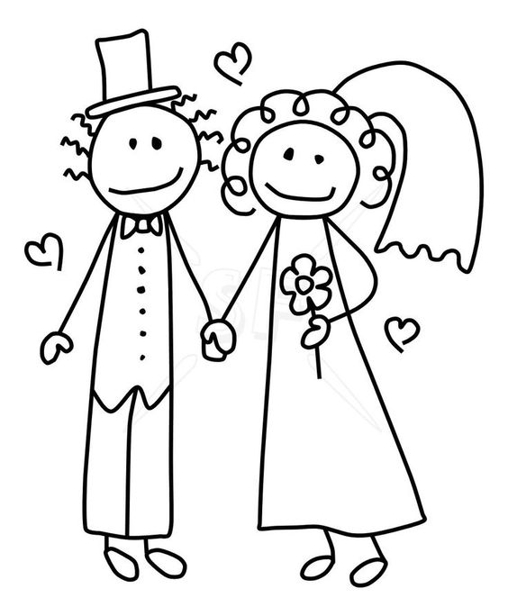 564x684 Ravishing Bride Groom Line Drawing Party Style With Bride